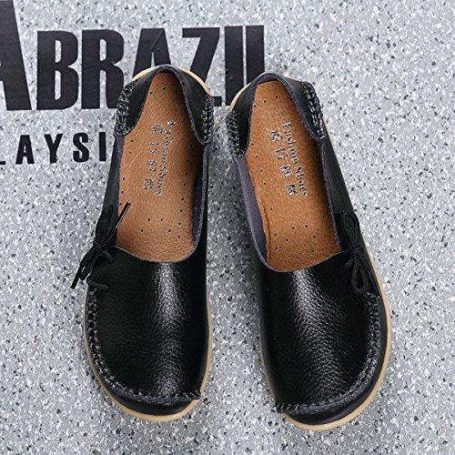 AFFINEST ocassins Femmes Loisirs Confort Chaussures Plates Loafers en PU Cuir Chaussures de Conduite,20 Couleurs Noir