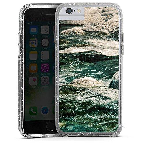 Apple iPhone 6 Bumper Hülle Bumper Case Glitzer Hülle Fels Stones Steine Bumper Case Glitzer silber