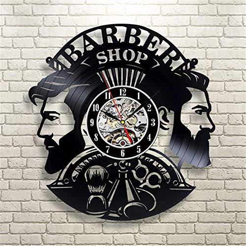 xuyuandass Relojes De Pared,Reloj De Pared Barbería Reloj De Peluquería con Registro De Vinilo De Barbería De Diseño Moderno para Barber Salon