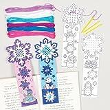 Baker Ross Kreuzstich-Bastelsets für Schneeflocken-Lesezeichen für Kinder Zum Besticken und Bemalen zu Weihnachten – Kreatives weihnachtliches Stickset für Kinder und Anfänger (4 Stück)