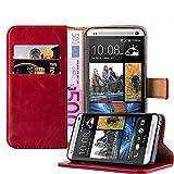 Cadorabo Hülle für HTC ONE M7 - Hülle in Wein ROT – Handyhülle im Luxury Design mit Kartenfach und Standfunktion - Case Cover Schutzhülle Etui Tasche Book