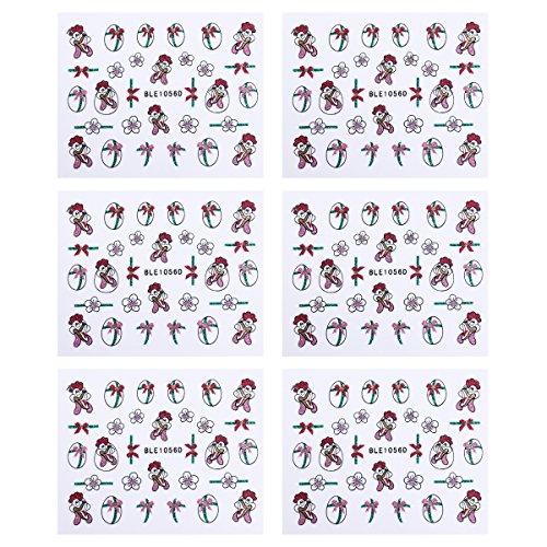 LUOEM Ostern Nagel Aufkleber Decals Osterei Huhn Nail Art Sticker DIY Nagel Handwerk Nagel Schablonen Tipps für Ostern 6 Blatt (Huhn Schablone)