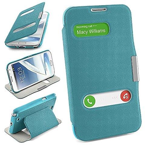 Samsung Galaxy Note 2 Hülle Hell-Blau mit Sicht-Fenster [OneFlow Window Cover] Schutzhülle Ultra-Slim Handyhülle für Samsung Galaxy Note 2 Case Flip Handy-Tasche Stand-Funktion