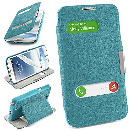 Cover OneFlow per Samsung Galaxy Note 2 Custodia con finestra | Flip Case Astuccio Cover per cellulare apribile | Custodia cellulare Cover rotettiva Accessori Cellulare protezione Paraurti AQUA-CYAN