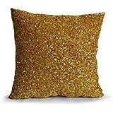 Amore Beaute hecha a mano Funda de cojín de oro decoración de vacaciones Oro sofá cojín para Chic Bling Color Dorado Metálico Accent de oro lentejuelas cuentas cojín para Navidad, tela, dorado, 35x35 cm