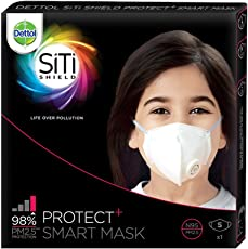 Dettol Siti Shield Protect+ N95 Anti-Pollution Smart Mask, Unisex (Small)