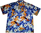 "Hawaiihemd/Hawaii Hemd ""Flower Girls (Blue)"" / 100% Baumwolle/Größe S – 6XL / blau/Blüten / Blumen/Pin-Up"