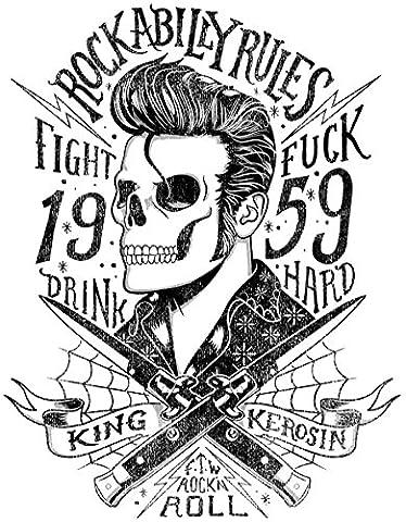 424/3 King Kerosin < Rockabilly Rules 1959 3XL 60cm > AUFKLEBER/STICKER USW.