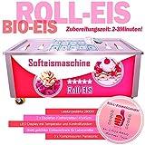 Professionelle Softeismaschine Gebratenes Eis/ Roll Eis mit 3 Kompressoren und 2 Gefrierplatten 45x45cm