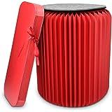 Navaris Design Hocker aus Papier faltbar - Akkordeon Sitz mit Auflage aus Filz - Karton Sitzhocker 42x36cm - Falthocker aus Pappe rund in Rot