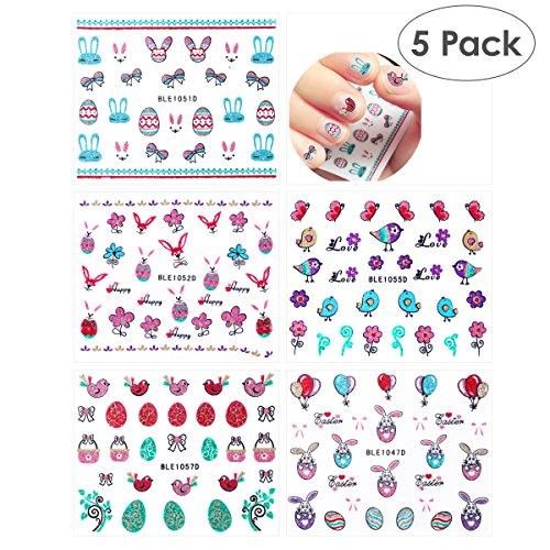 OULII 5pcs autocollants mignons ongles de dessin animé avec paillettes poudre 3D Stickers ongles autocollants