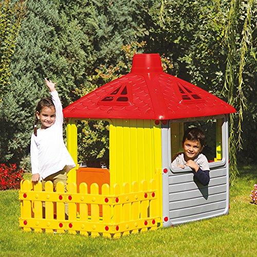 Childrens Playhouse Garden Wendy House Outdoor Indoor Kid's Summer Fun Yard with Fence
