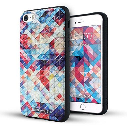 iPhone 5 hülle,iPhone 5s hülle,iPhone se hülle,Lizimandu TPU 3D Handyhülle Muster Case Cover Für iphone5/5s/5se(Elefant/Elephant) Bunte Pizzle/Colorful Pizzle