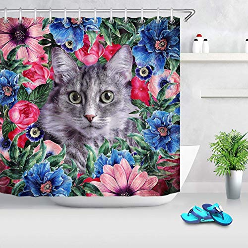 Qicaiyang Animal Cat Shower Curtain For BathroomFunny Cute Kitten In Plant Flowers Blue Pink