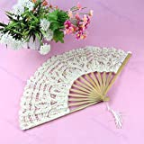 SimpleLife Dame Handgemachte Baumwolle Sonnenschirm Spitze Hand Faltfächer Braut Hochzeit Party Geschenk Beige 53 cm / 20,9