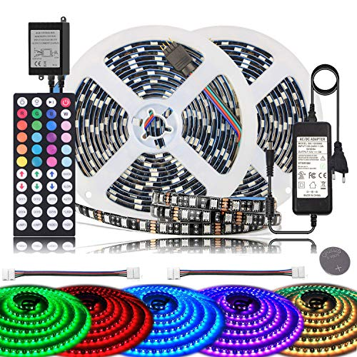 BIHRTC 5050 SMD 10M 32.8ft RGB 600 LED Streifen Set Kit Strip Licht Lichtband Lichtstreifen Wasserdicht IP65 Flexibles in Schwarz PCB mit 44 Tasten Fernbedienung + EU Plug DC 12V Netzteil Flexible Led-licht