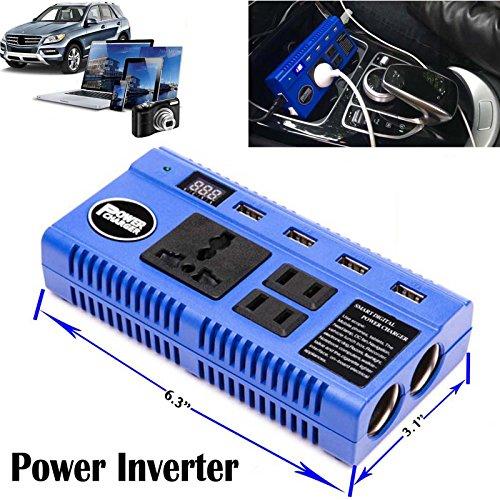 Preisvergleich Produktbild DC bis AC 200W Power Inverter mit Digital Display, 4USB-Port & 3Ausgänge zum Aufladen Handys Laptop Tablet Geräte–2Jahre Garantie