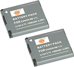 DSTE 2x NB-11L Replacement Li-ion Battery for Canon PowerShot A2400 A2500 A2600 A3400 A3500 A4000 IS ELPH 320 340 350 HS IXUS 265 275 285 HS 132D 155 150 175 180 SX400 SX410 IS Camera