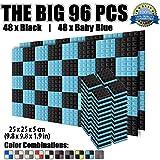 Super Dash Pacco da 96 di 25 X 25 X 5 cm Piramidali Fonoassorbenti Isolanti Studio Acustici Parete Piastrelle Pannelli SD1034 (NERO & AZZURRO)