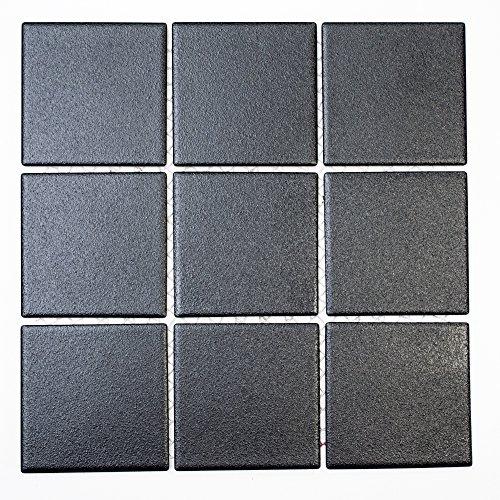 Mosaikfliesen Fliesen Mosaik Küche Bad WC Wohnbereich Fliesenspiegel Boden Keramik Quadrat schwarz 6mm rutschhemmend R10B #K181 -