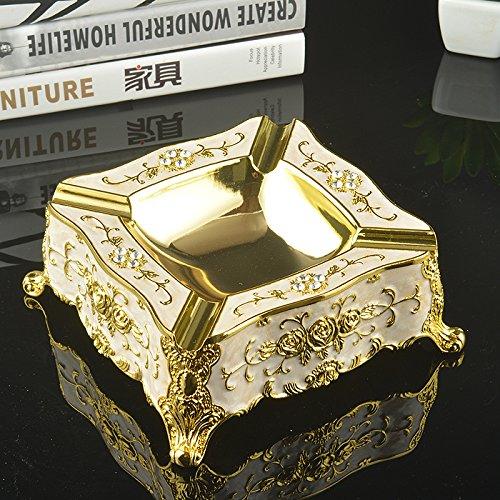 XOYOYO Im Europäischen Stil Retro Luxus Aschenbecher Aschenbecher Aschenbecher Kreative Persönlichkeit Wohnzimmer Dekoration Trend Home Ausstattung Bar, Square-Gold