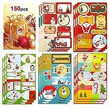 HOWAF 159Pcs Gommettes Noël Autocollants Stickers Etiquettes pour Cadeau Noël Sac, Papier d'emballage, Cartes, enveloppe