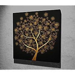 Lienzo Panel cuadro colgante de pared Split arte negro oro dorado Bonsai árbol mágico mitología Oriental Buda Oriental