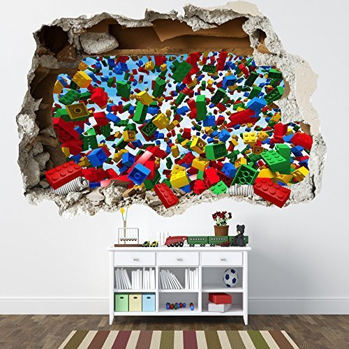 LEGO SMASHED WALL STICKER - 3D BEDROOM LEGO BRICKS BOYS GIRLS DECAL by - Graphics Brick Wall