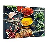 Kunstdruck - Kräuter und Gewürze - Bild auf Leinwand - 80x60 cm einteilig - Leinwandbilder - Essen & Trinken - farbenfrohe Gewürze auf Löffeln