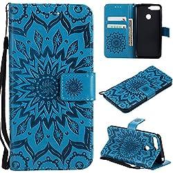 BoxTii Coque Huawei Honor 7A, Etui en Cuir de Première Qualité [avec Gratuit Protection D'écran en Verre Trempé], Housse Coque pour Huawei Honor 7A (#6 Bleu)