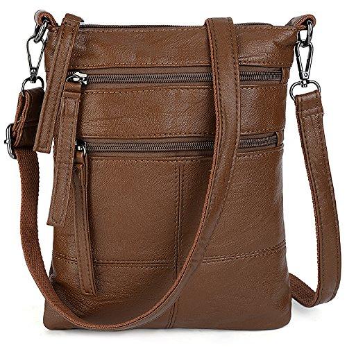 UTO Damen klein Crossbody Bag Roomy Multi Fach Cell Phone iPad-Mini Kindle Holder Schultertasche Geldbörse Bags Brown (Kindle Phone)