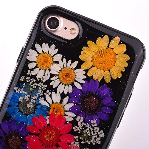 "iPhone 7 Handyhülle, CLTPY iPhone 7 Transparent Klare 3D Motiv Fall, [Ultra Hybrid] Echte Getrocknete Blumen Series Etui, Dünne Stoßfest Gummi Case für 4.7"" Apple iPhone 7 + 1 Stylus - Floral 17 Floral 10"