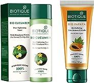 Biotique Bio Cucumber Pore Tightening Toner, 120ml & Papaya Revitalizing Tan Removal Scrub, Transparent, 100 g Combo