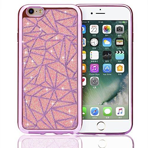 Vandot TPU Silikon Hülle für iPhone 6 6s Glitter Glitzer Bling Case Cover Schutzhülle mit Kratzfeste Stoßdämpfende Ultra Thin Weich Perle Diamant Crystal Shining Kristall Schutz Schleife Anhänger Hand Vogelnest Rosa Pink