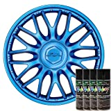 KandyDip® Sprühfolie DEEP Metal Blue Flüssiggummi Felgenfolie Spraydosen Sets+2K, (4X Basis +4X Effekt, Matt)