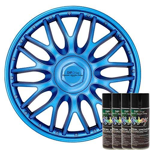 KandyDip® Sprühfolie DEEP Metal Blue Flüssiggummi Felgenfolie Spraydosen Sets+2K, (4X Basis +4X Effekt, Satin) Deep Dip