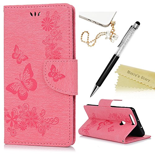 Price comparison product image Mavis's Diary Honor 8 Cover ,Huawei Honor 8 Case - Book Wallet PU Leather Magnetic Closure Flip Case [Big Butterfly & Flower Embossed] Cover with Card Slots & Stand & Wrist Strap with One Dust Plug & One Stylus Pen for Huawei Honor 8 - Pink