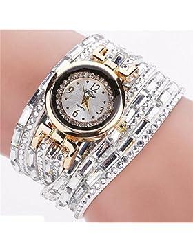 SSITG Damen Uhr Wickelarmband Quarzuhr Armbanduhr Analog Lederband Perlen Strass Uhr Watch Geschenk gift