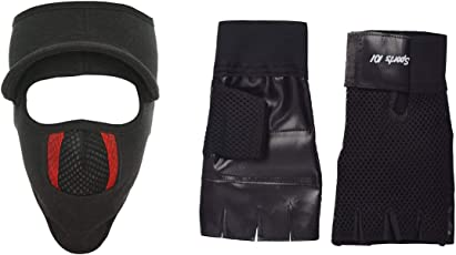 H-Store Balaclavas Mask Unisex Lycra Face Mask Black Anti Pollution Dust Sun Protecion Face Cover Mask With Black Gym Workout Body Geometry Road Cycling Race Leather Training Hand Protector Unisex Adults Gloves