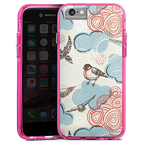 Apple iPhone 6s Bumper Hülle Bumper Case Glitzer Hülle Vogel Bird Pattern Bumper Case transparent pink