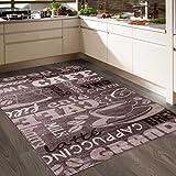 Coffee Design Teppich Kaffee Muster in Beige Ideal für die Cafe Lounge Oder Küche spiegelverkehrt 80x150 cm