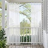 RYB HOME Schlaufen Voile Vorhänge draußen - Weiße Gaze Gardinen Schlaufenschal Dekoschale für Terrasse Garten Pergola Balkon Wasserdicht Anti-Mehltau, B 137 x H 274 cm, 1 Stück, Weiß