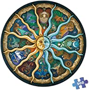 500 Pieces Puzzles for Adults Round Jigsaw Puzzles Zodiac Floor Puzzle Kids DIY Toys for Creative Gift Home De