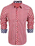 Burlady Herren Hemd Kariert Cargohemd Trachtenhemd Baumwolle Freizeit Regular Fit (L, A-Rot)
