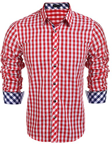 Burlady Herren Hemd Kariert Cargohemd Trachtenhemd Baumwolle Freizeit Regular Fit (XL, A-Rot)