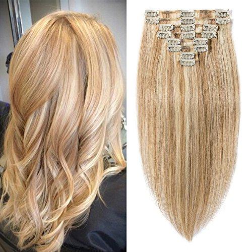 20cm-55cm extension clip meche 100% remy human hair capelli veri tessitura con clips full head parrucca vera (50cm-105g, #12/#613 marrone chiaro/biondo chiarissimo)
