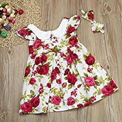 Girls Princess Dresses+ Headbands, Transer® Toddler Girl Princess Dress Headband Kids Ruffle Party Floral Dress 0-4 Years Toddlers Clothes Set