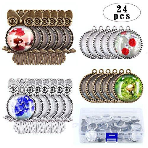 iSuperb 24 Piezas Bandejas Colgantes Metal Bisel Cabujón un 1 Pieza Caja de almacenaje para DIY Joyeria Regalo Pendant Tray Búho, Arbol Redondo de la Sabiduríaun (24 Piezas Bases de Colgante)