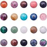 PandaHall Elite 20 cabujones de piedras semiredondas de 16 x 6 mm para fabricación de joyas, 20 colores mezclados