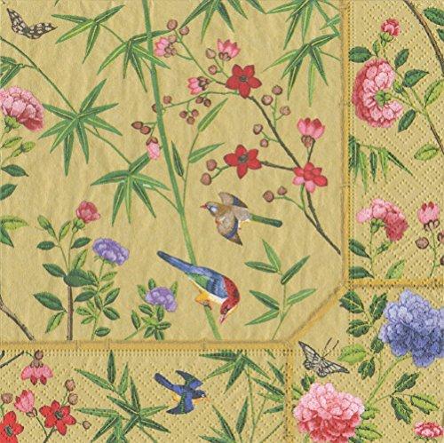 Caspari Chinese Wallpaper erhalten mit Servietten Stoff/Papier Gold, Stoff, Gold, 16.5x16.5x0.02 cm Tiger Wallpaper Set
